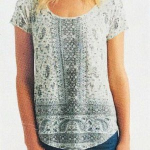 Lucky Brand Size M Short Sleeved Top Grey & Ivory
